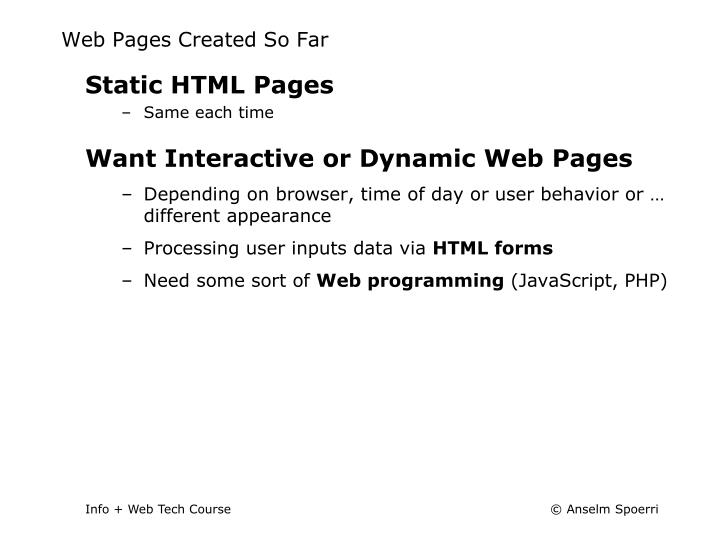 Web Pages Created So Far