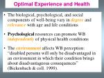 optimal experience and health