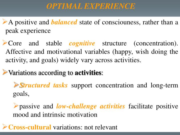 OPTIMAL EXPERIENCE