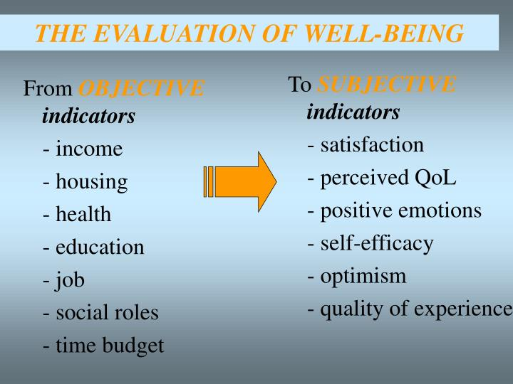 THE EVALUATION OF WELL-BEING