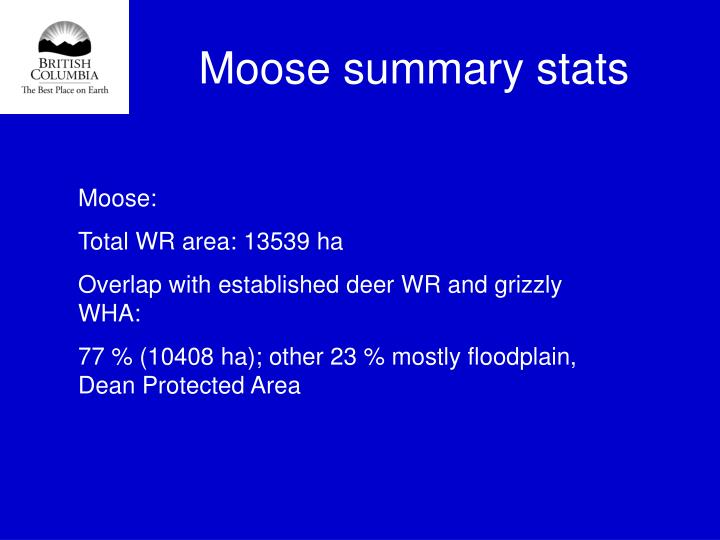 Moose summary stats