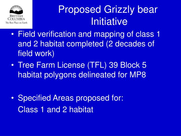 Proposed Grizzly bear