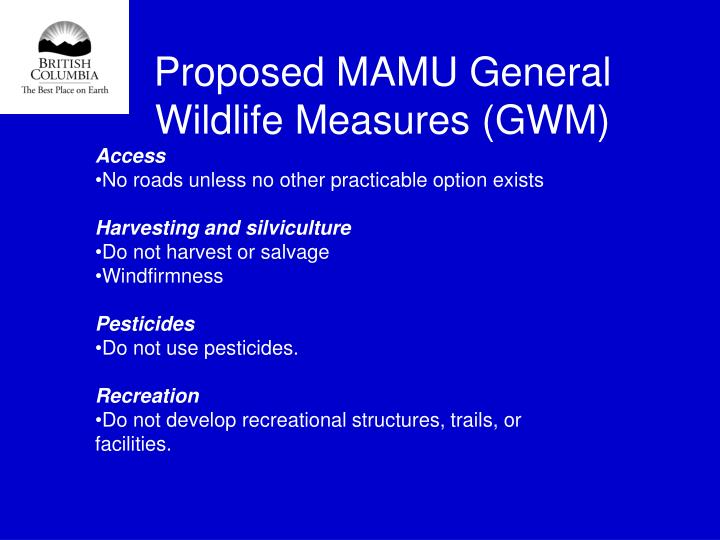 Proposed MAMU General Wildlife Measures (GWM)