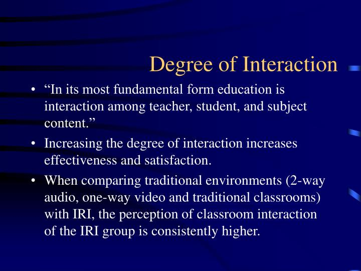 Degree of interaction