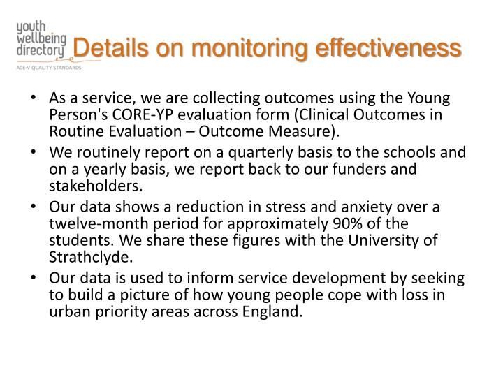 Details on monitoring effectiveness