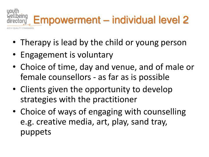 Empowerment – individual level 2