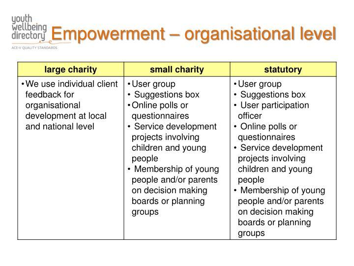 Empowerment – organisational level