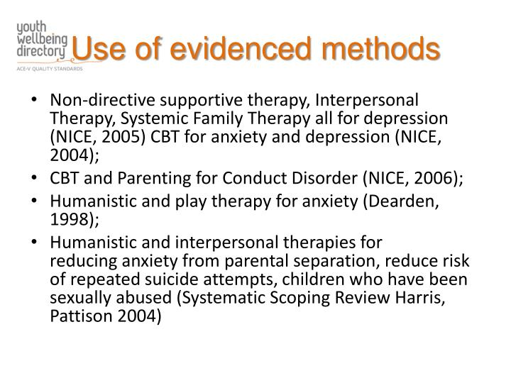 Use of evidenced methods