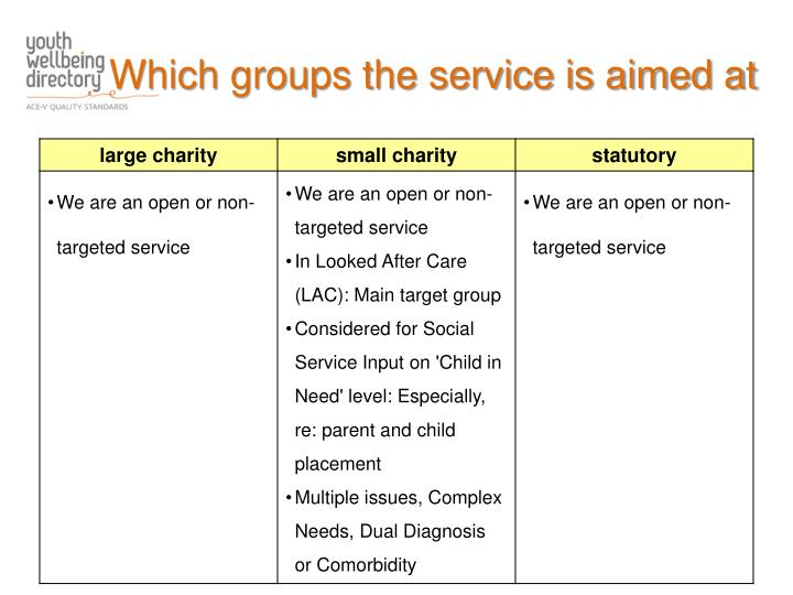 Which groups the service is aimed at