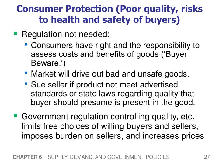 Consumer Protection (Poor quality, risks to health and safety of buyers)