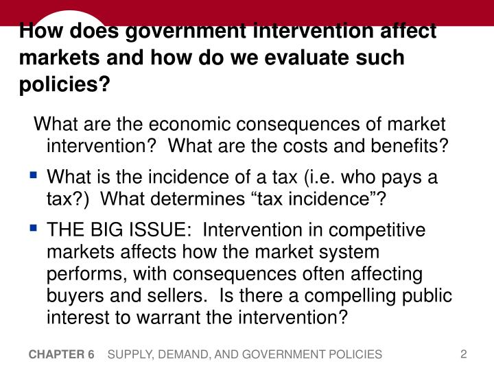 How does government intervention affect markets and how do we evaluate such policies