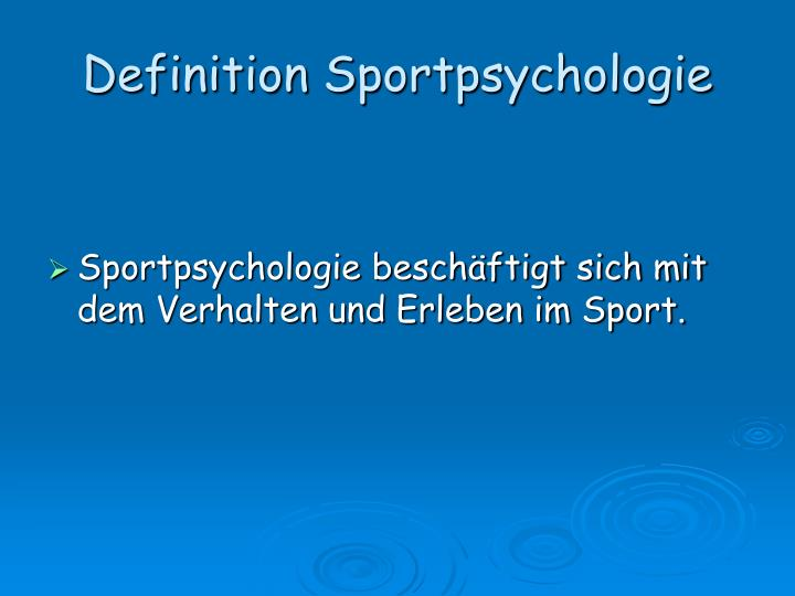 Definition Sportpsychologie