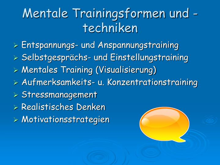 Mentale Trainingsformen und -techniken