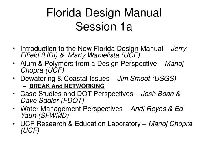 Florida design manual session 1a