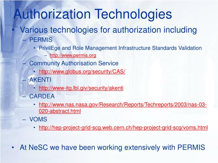 Authorization Technologies