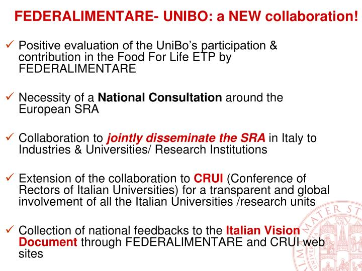 FEDERALIMENTARE- UNIBO: a NEW collaboration!