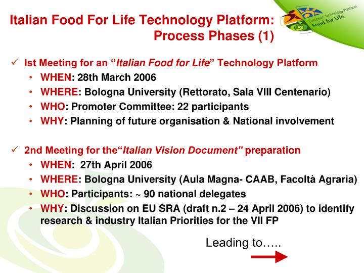 Italian Food For Life Technology Platform: