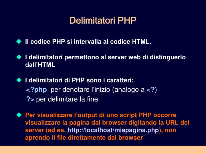 Delimitatori PHP