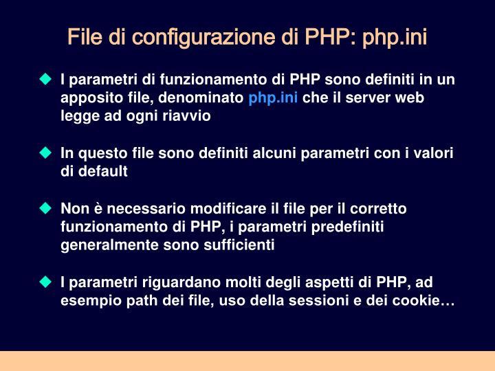 File di configurazione di PHP: php.ini