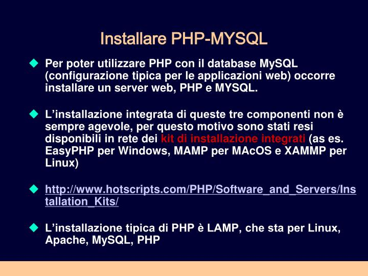 Installare PHP-MYSQL