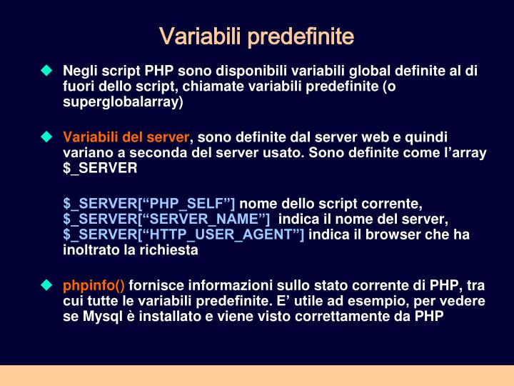 Variabili predefinite