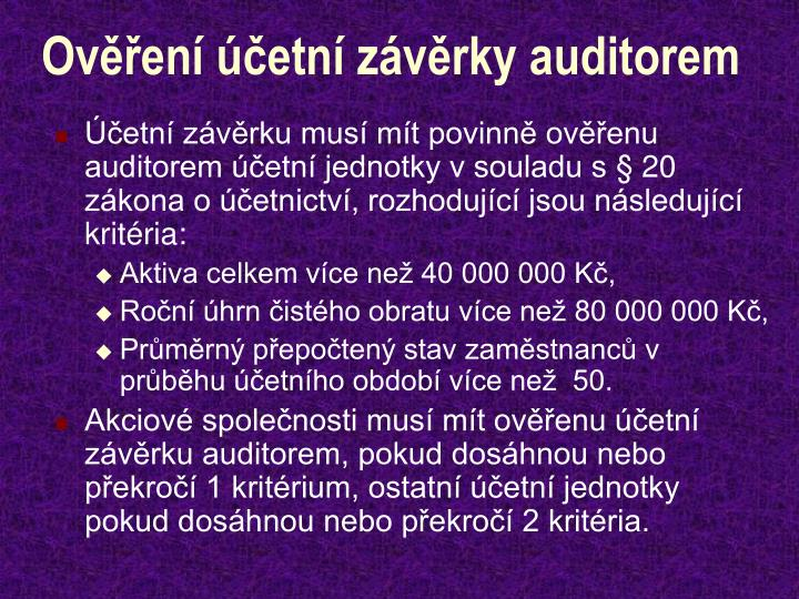 Ověření účetní závěrky auditorem