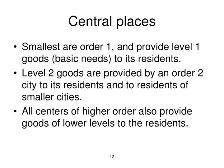 Central places