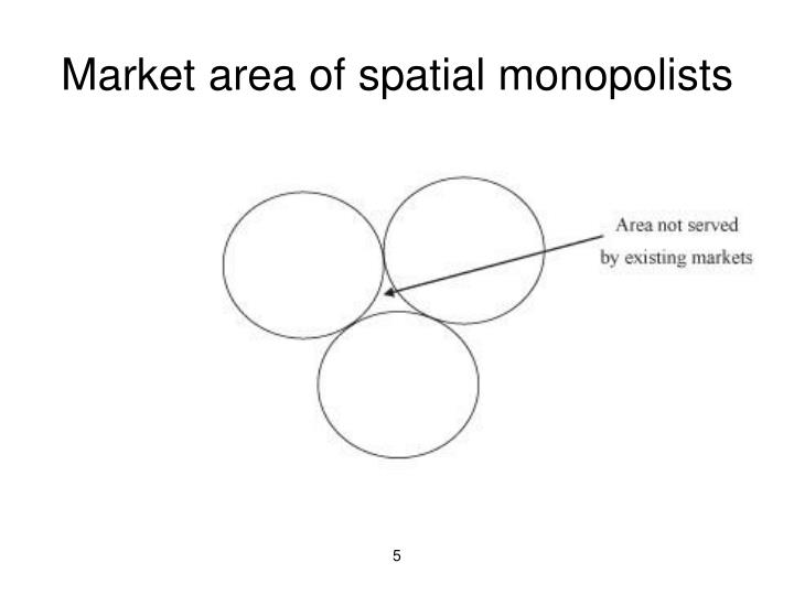 Market area of spatial monopolists