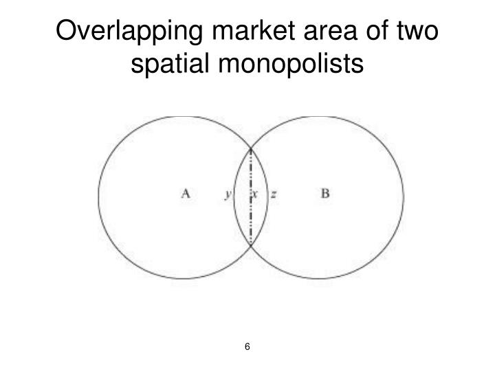 Overlapping market area of two spatial monopolists
