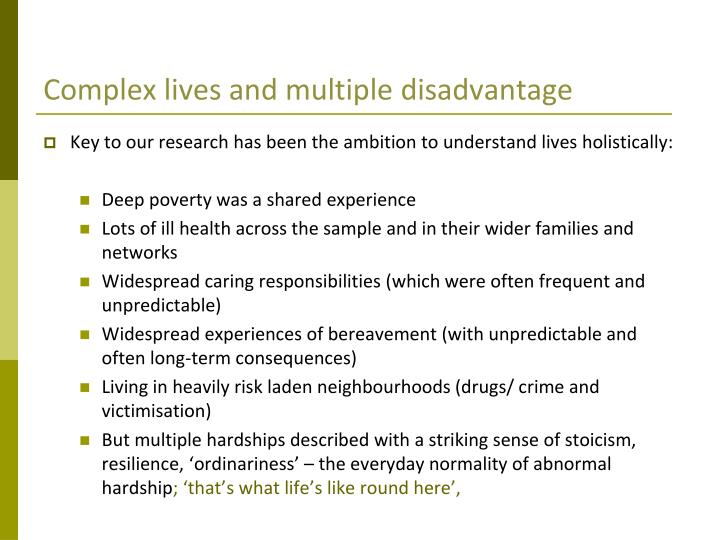 Complex lives and multiple disadvantage