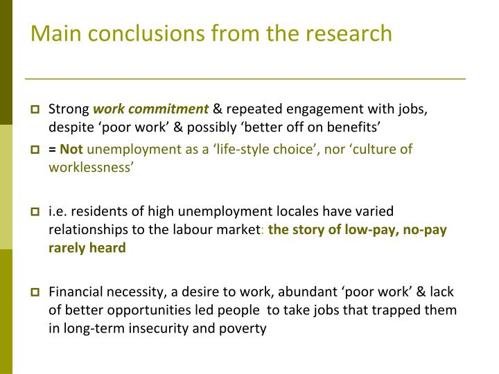 Main conclusions from the research