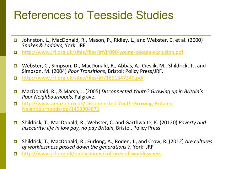 References to Teesside Studies