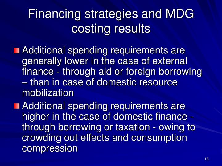 Financing strategies and MDG costing results