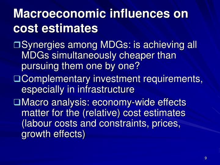 Macroeconomic influences on cost estimates