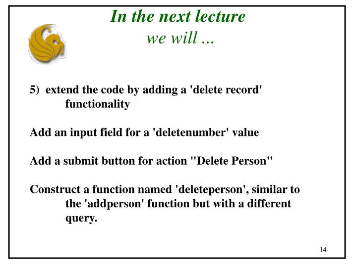 In the next lecture