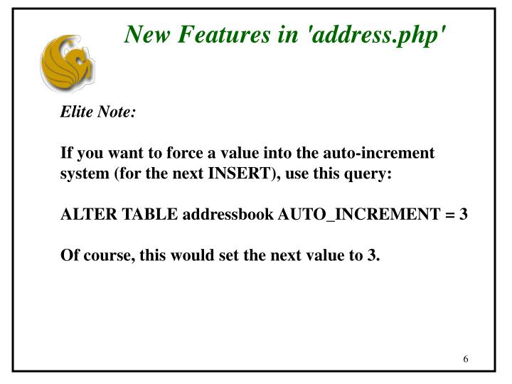 New Features in 'address.php'