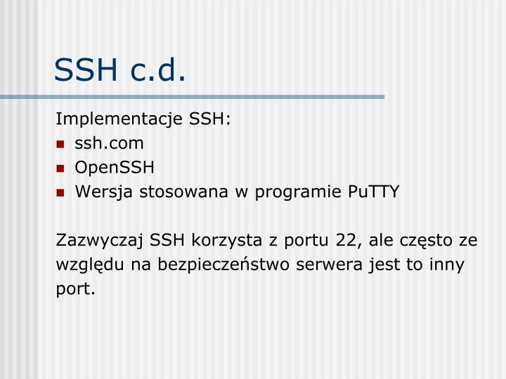 SSH c.d.