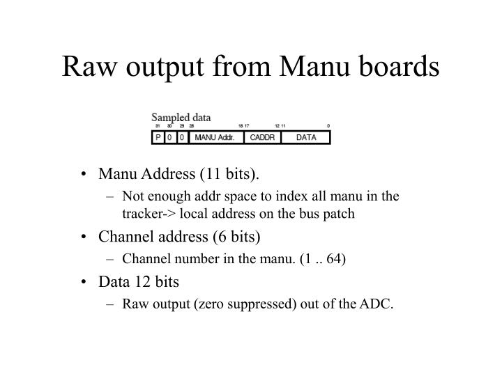 Raw output from Manu boards
