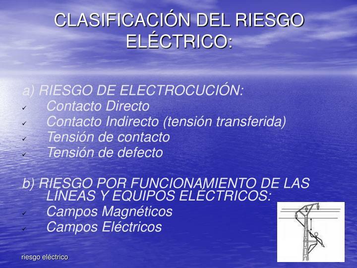 CLASIFICACIÓN DEL RIESGO ELÉCTRICO: