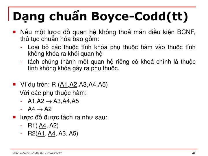 Dạng chuẩn Boyce-Codd(tt)