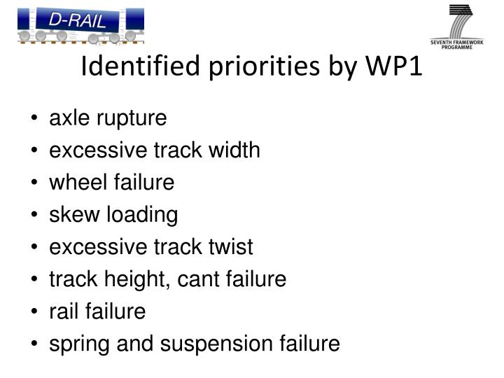Identified priorities by WP1