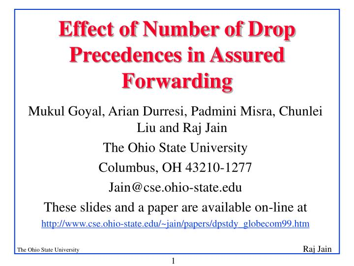 Effect of number of drop precedences in assured forwarding