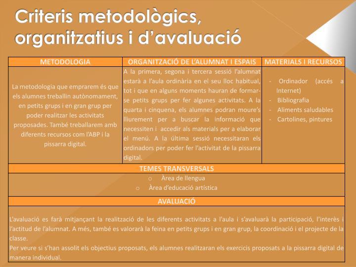 Criteris metodològics, organitzatius i d'avaluació