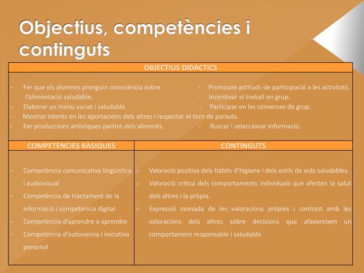 Objectius, competències i continguts