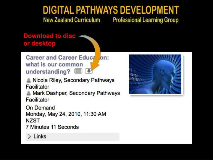 Download to disc          or desktop