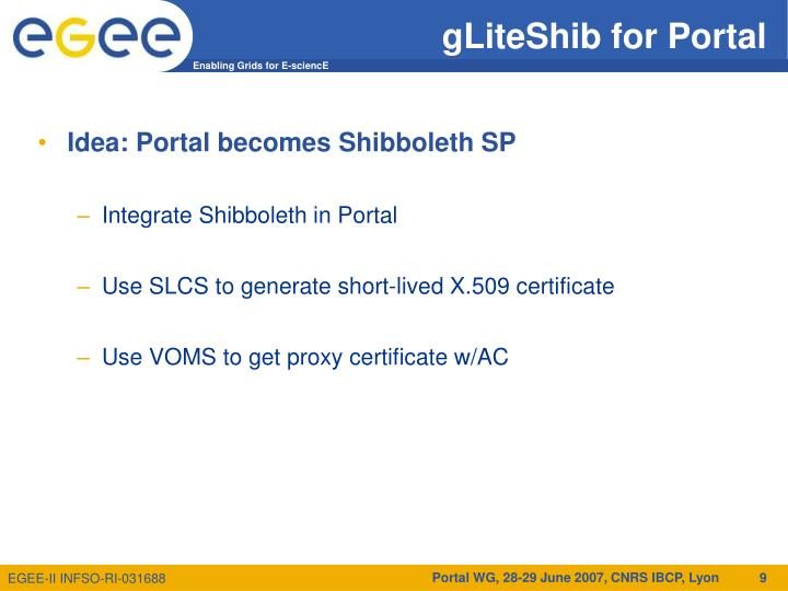 gLiteShib for Portal