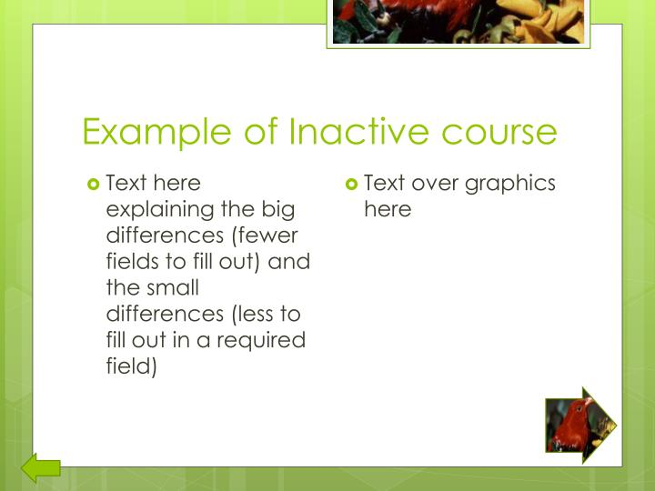 Example of Inactive course