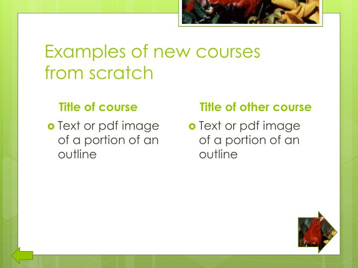 Examples of new courses