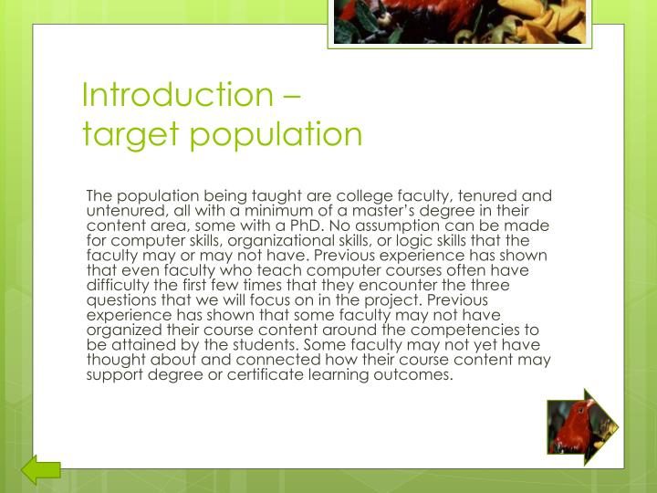 Introduction target population