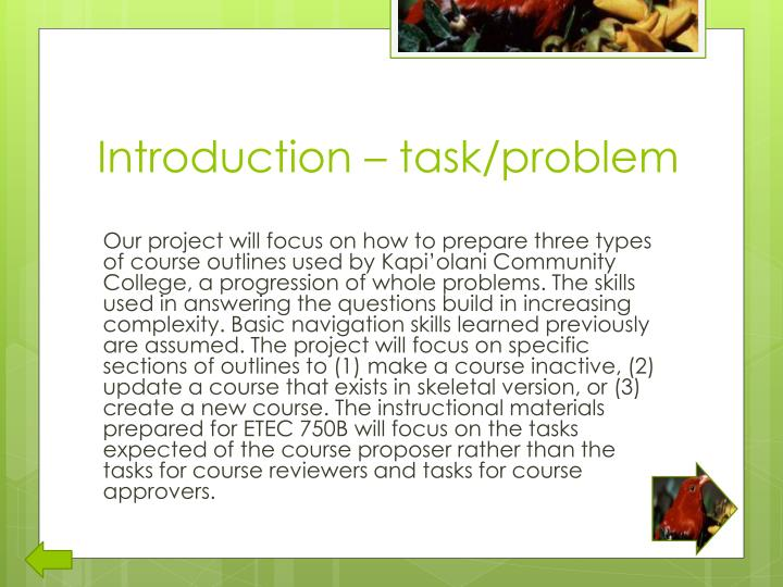 Introduction – task/problem